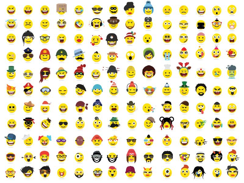 150 Creative Funny Flat Style Emojismiley Emoticons By Kubanek