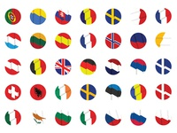 European flags isometric