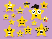 Cartoon star face emoji characters