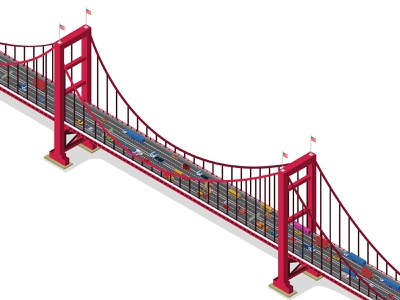 Isometric bridge with traffic modern connection isolated truck vehicle highway traffic industry auto building suspension public architecture river transportation construction road isometric transport bridge
