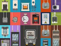 Electric meter,gas meter,gas tank