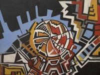 The sun, cartoon, oil paint
