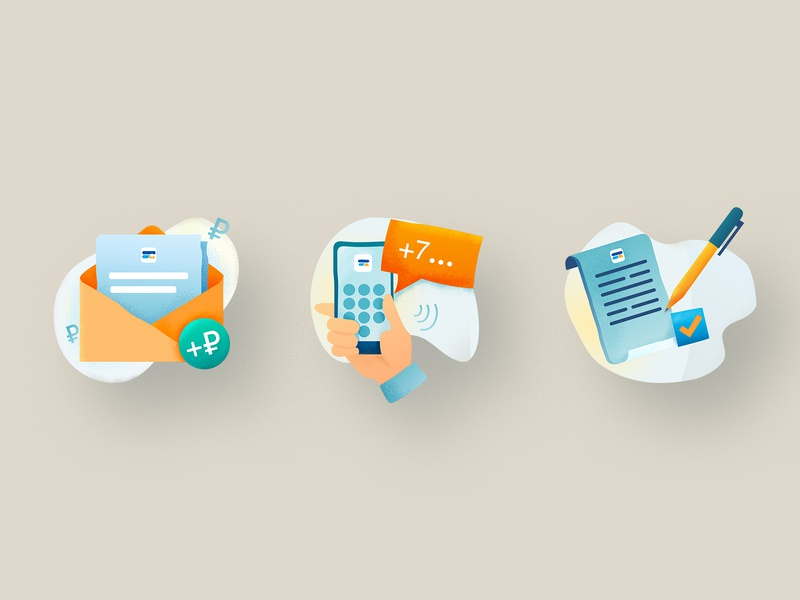 Icons Set paper phone steps icon letter ui illustration vector