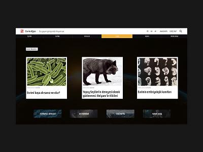 Evrim Ağacı Home Page Concept (Dark) user inteface concept design ui