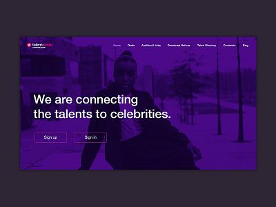 talent2celeb - Welcome Page UI user inteface concept design ui