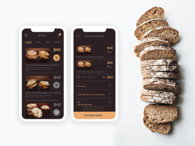 Bakery App checkout user interface.