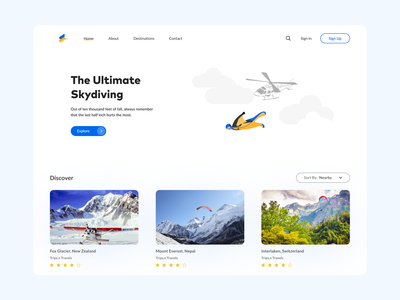 Ultimate Skydiving Hero branding illustration skydiving tourism adventure hero section ui concept minimal ui  ux design ui  ux design userinterfacedesign