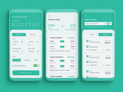 Flight Scheduling App clean minimal design layout typography uiux ui mobile application flight scheduling ticket app air travel tickets fare