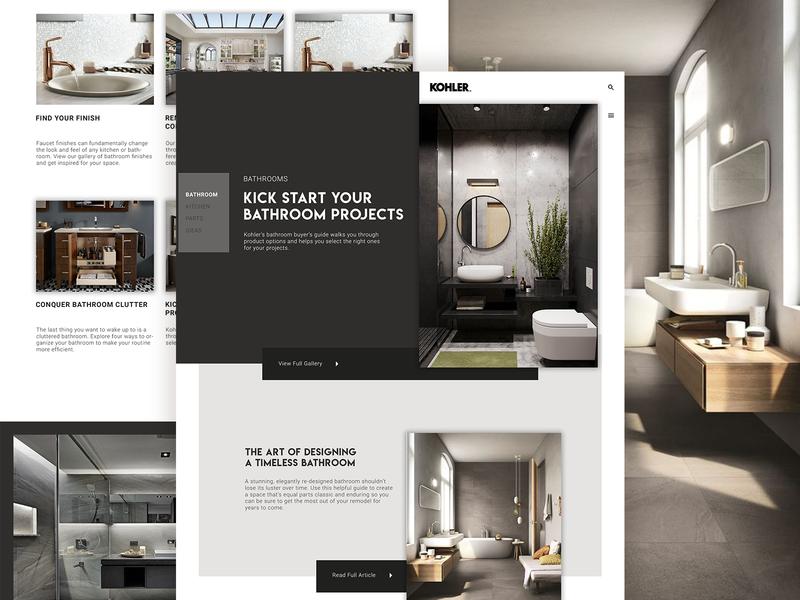 Kohler slider navigation modern minimal clean whitespace typography ux website ui design behance layout landing page