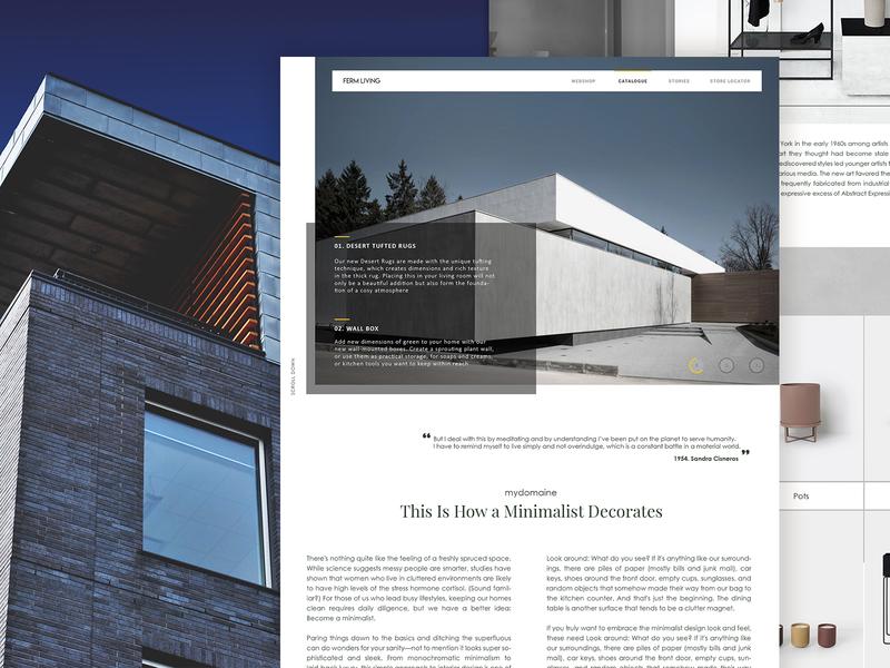 Ferm Living minimal blogs ux ui typography design clean behance website grid design layout landing page