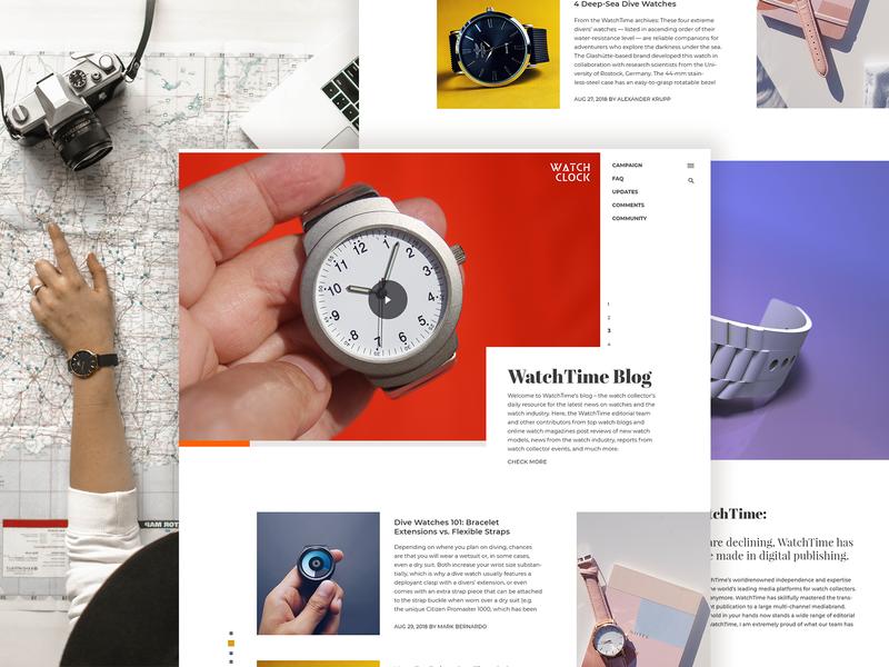 Time Watch typography ux ui minimal grid design design clean blogs layout landing page