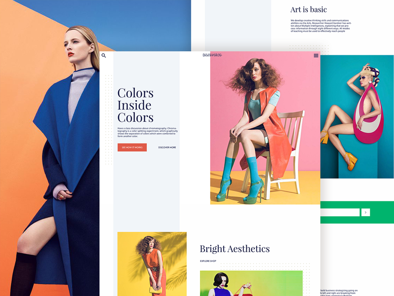 Discover.co website behance typography ui minimal clean blogs layout landing page
