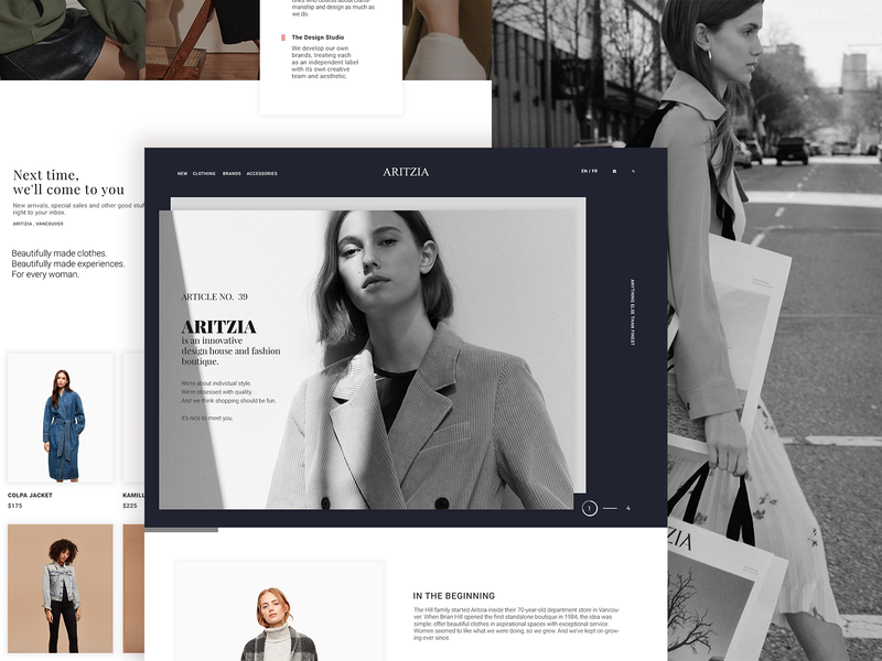 Aritzia brand retail fashion clothing blogs ux website design typography minimal clean ui layout landing page