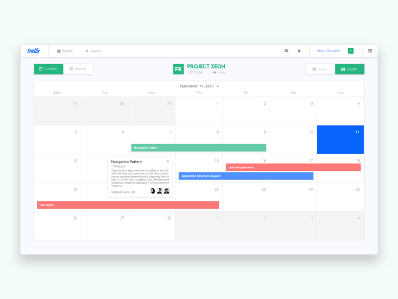 Trello Calender View view weekly monthly simple minimalist redesign managment project trello
