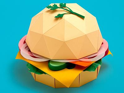 Paper Burger hamburger tactile design food craft handmade paper papercraft