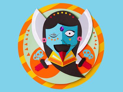 Kali Mask tactile design god hindu mask craft handmade paper papercraft