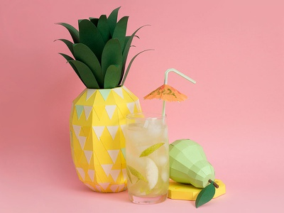 Fresh Drinks tactile design pearl fruits pineapple drink craft handmade paper papercraft