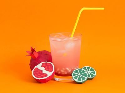 Fresh Drinks 02 tactile design lemmon fruits pomegranate drink craft handmade paper papercraft