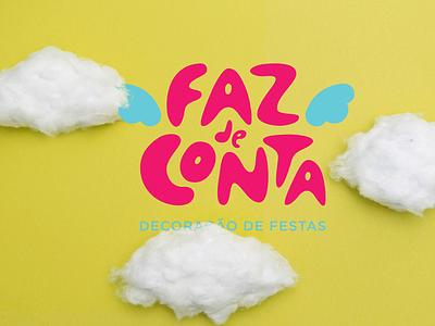Faz de Conta graphic design fun kids clouds brand logo branding