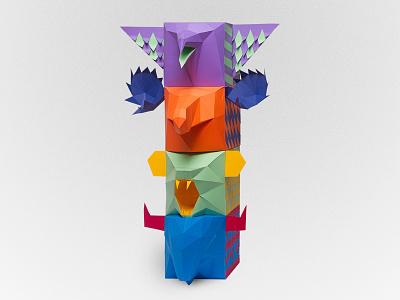 Totem tactile design power indian colors illustration xamanic nature animals craft handmade paper papercraft