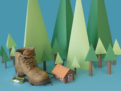 Camping set tactile design hiking green boots colors illustration nature trees craft handmade paper papercraft