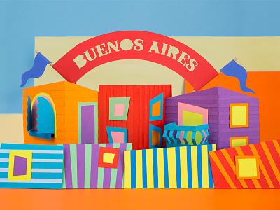 Buenos Aires tactile design flag argentina colors illustration craft handmade paper papercraft