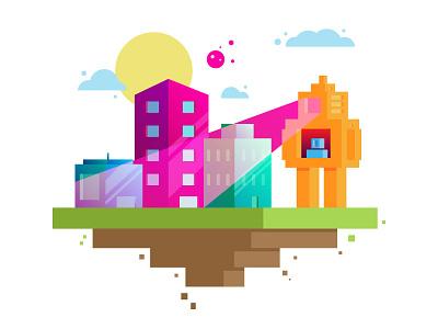 Cityscape illustrator sci-fi space colors buildings illustration vector city robot