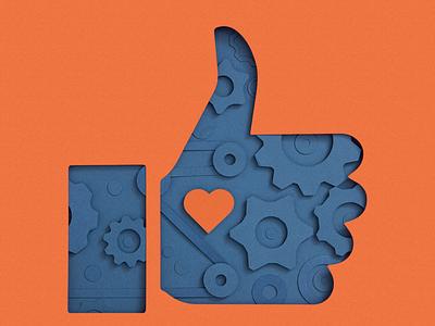 Behind likes heart facebook instagram papercut craft social media like