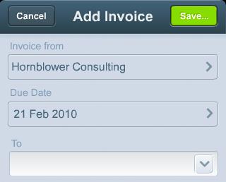 Add Invoice xero iphone