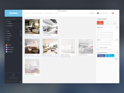PhoGo Uploads Dashboard uploader upload app dashboard application website share finder gallery