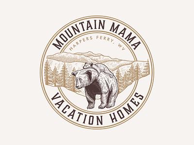 Logo & Business card Mountain Mama vintagelogo logo handdrawn vector classic vintage illustration