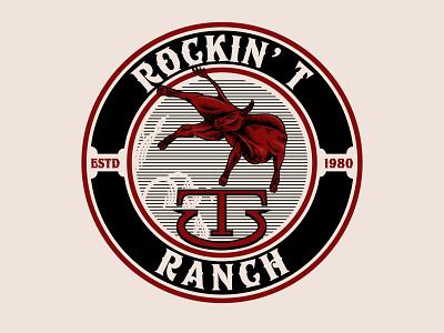 Rockin T Ranch badge farm bull vintagelogo logo illustration handdrawn classic vintage