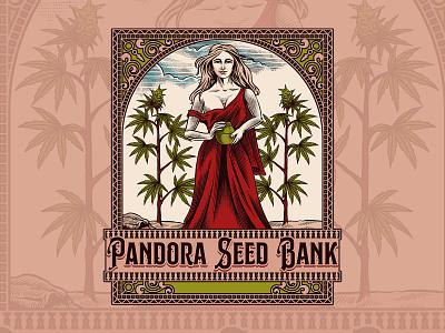 Pandora Seed Bank victorian cannabis packagingdesign branding packaging illustration handdrawn classic vintage