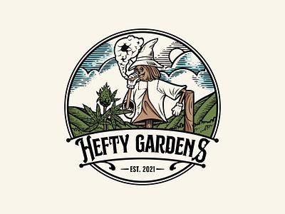 Hefty Gardens cannabis logo cbd hemp cannabis badge badgelogo classic logodesign retro vintagelogo logo illustration handdrawn vintage