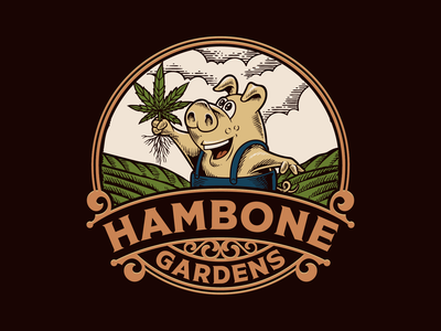 Hambone Gardens hemp cannabislogo cannabis badge vintagelogo logo illustration handdrawn classic vintage