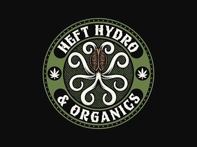 Heft Hydro agriculture hemp cannabis cannabislogo badge vintagelogo logo illustration handdrawn classic vintage