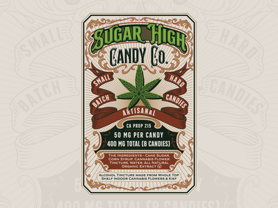 Sugar High Candy Co. candies candy label vintage classic handdrawn illustration branding hemp packagingdesign cannabis packaging