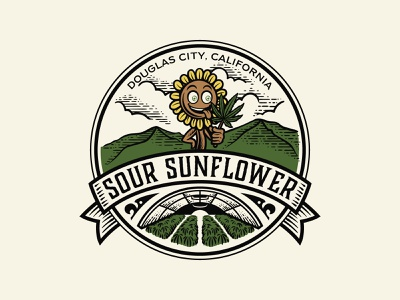 Sour Sunflower hemp vintagelogo handdrawn logo cannabis logo cannabis vintage
