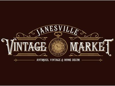 Janesville Vintage Market branding vintagelogo classic vector handdrawn illustration vintage logo
