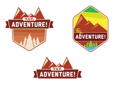 Yay, Adventure! Logo Concepts outdoors adventure identity logos logo