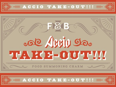 Accio Take-Out!!! concept typography packaging