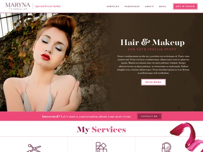 Maryna Stylist v2 beauty special events hair stylist website