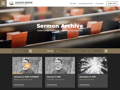 Sermon Archive sermons grid audio website church