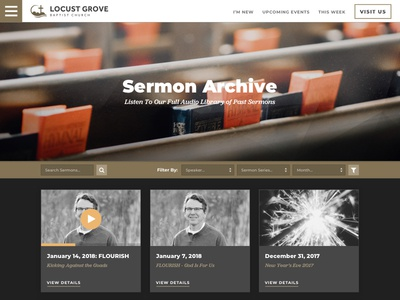 Sermon Archive sermons grid audio website church
