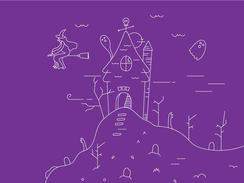 Halloween newsletter design haunted house witch ghost nature illustrator halloween art illustration