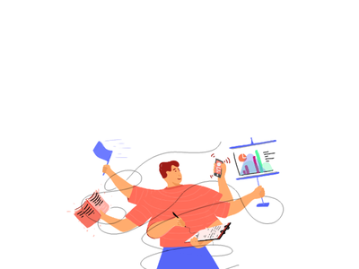 Project Manager web charachter design vector design flat workflow task management illustration project manger arms