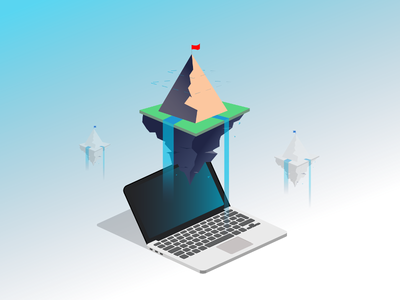 Company Illustration mac computer pc isometric illustration flag we design web light blue flat mountain isometric notebook illustration