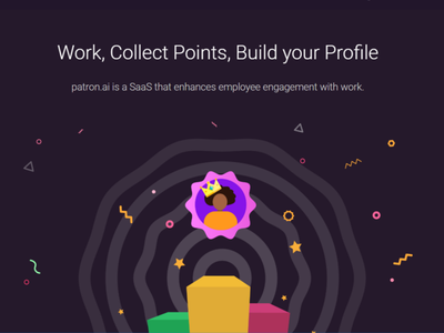 Build Profile on patron.ai illusration party points build profile gamification forecasting milestone phases project team ui ux web management design
