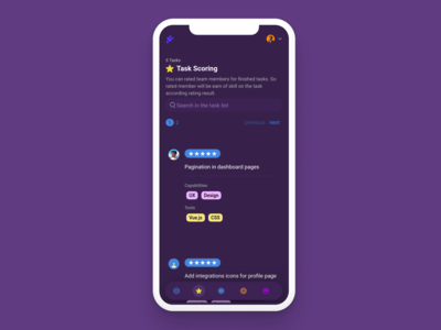 Responsive Design for patron.ai dark responsive web mobile game gamification task management task mockup ui design app