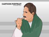Allama Iqbal Cartoon Portrait - Avatar - Vector Art drawing